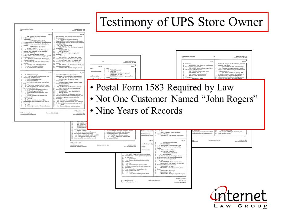 Testimony of UPS Store Owner Postal Form 1583 Required by Law Not One Customer Named John Rogers Nine Years of Records