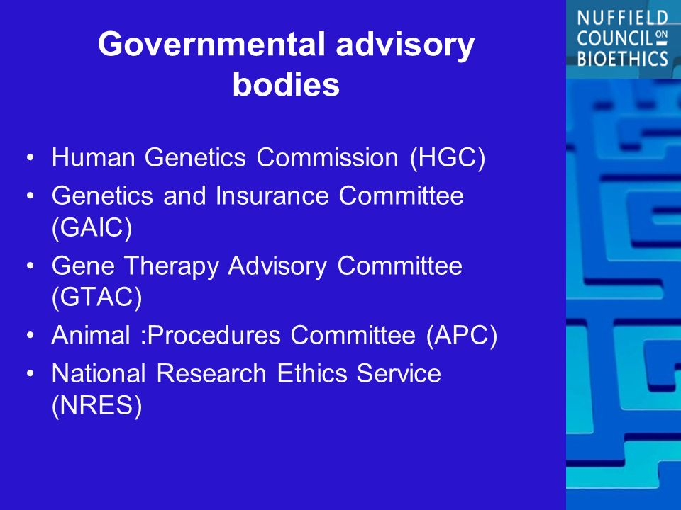 Governmental advisory bodies Human Genetics Commission (HGC) Genetics and Insurance Committee (GAIC) Gene Therapy Advisory Committee (GTAC) Animal :Procedures Committee (APC) National Research Ethics Service (NRES)