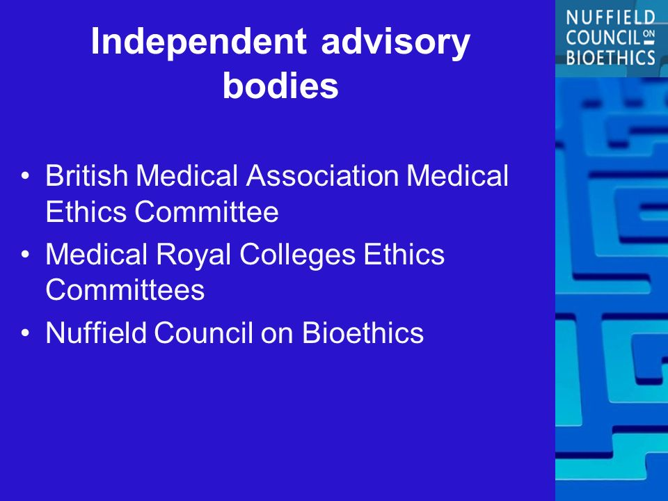 Independent advisory bodies British Medical Association Medical Ethics Committee Medical Royal Colleges Ethics Committees Nuffield Council on Bioethics