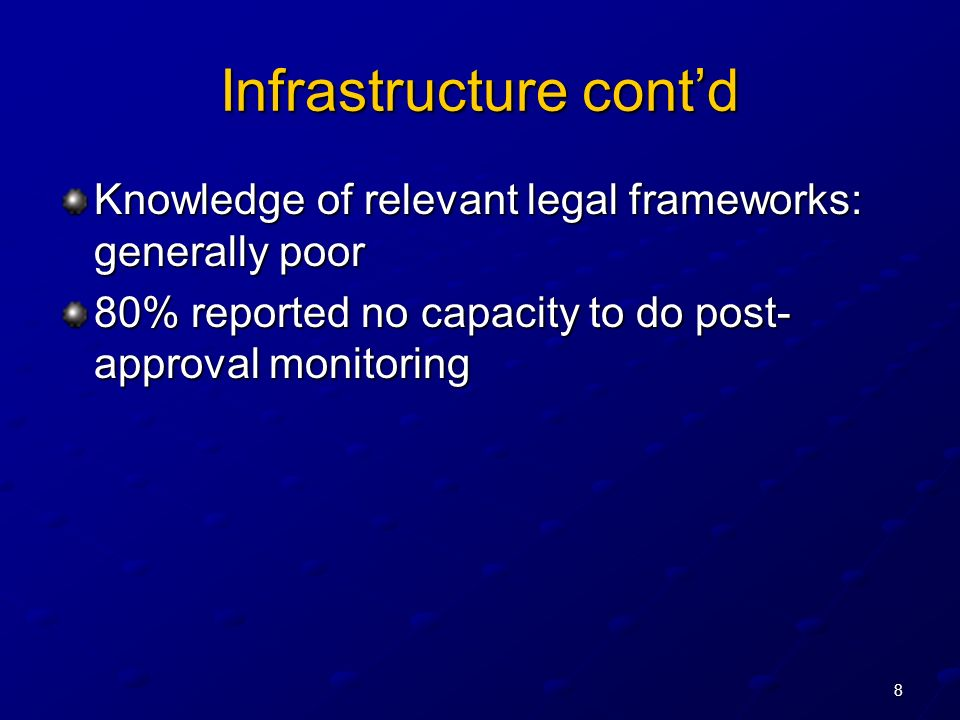 8 Infrastructure contd Knowledge of relevant legal frameworks: generally poor 80% reported no capacity to do post- approval monitoring