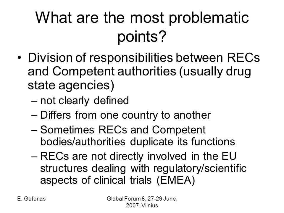 E. GefenasGlobal Forum 8, June, 2007, Vilnius What are the most problematic points.