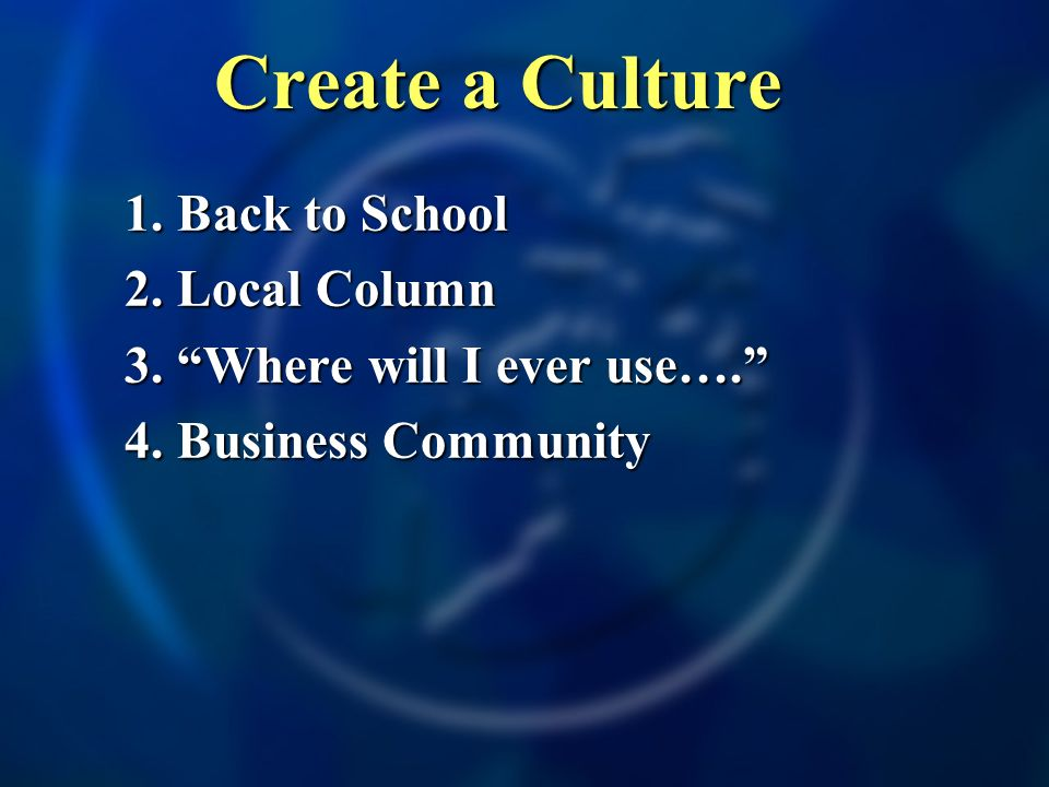 1. Back to School 2. Local Column 3. Where will I ever use…. 4. Business Community Create a Culture