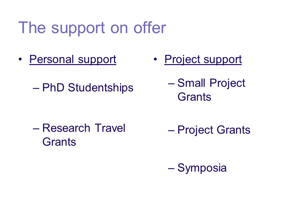 The support on offer Personal support –PhD Studentships –Research Travel Grants Project support –Small Project Grants –Project Grants –Symposia