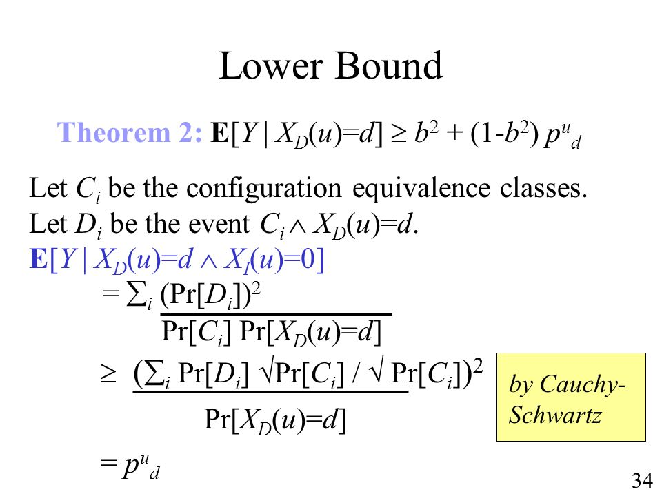 Lower Bound Theorem 2: E[Y | X D (u)=d] b 2 + (1-b 2 ) p u d Let C i be the configuration equivalence classes.