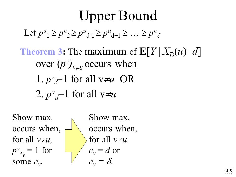 Show max. occurs when, for all v u, e v = d or e v =.