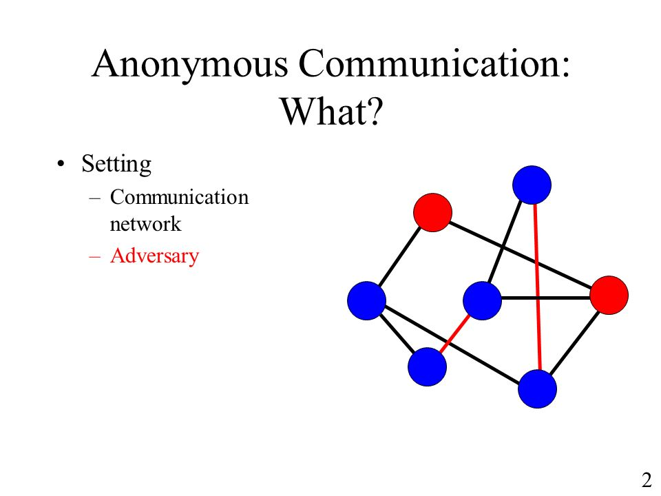 Anonymous Communication: What Setting –Communication network –Adversary 2