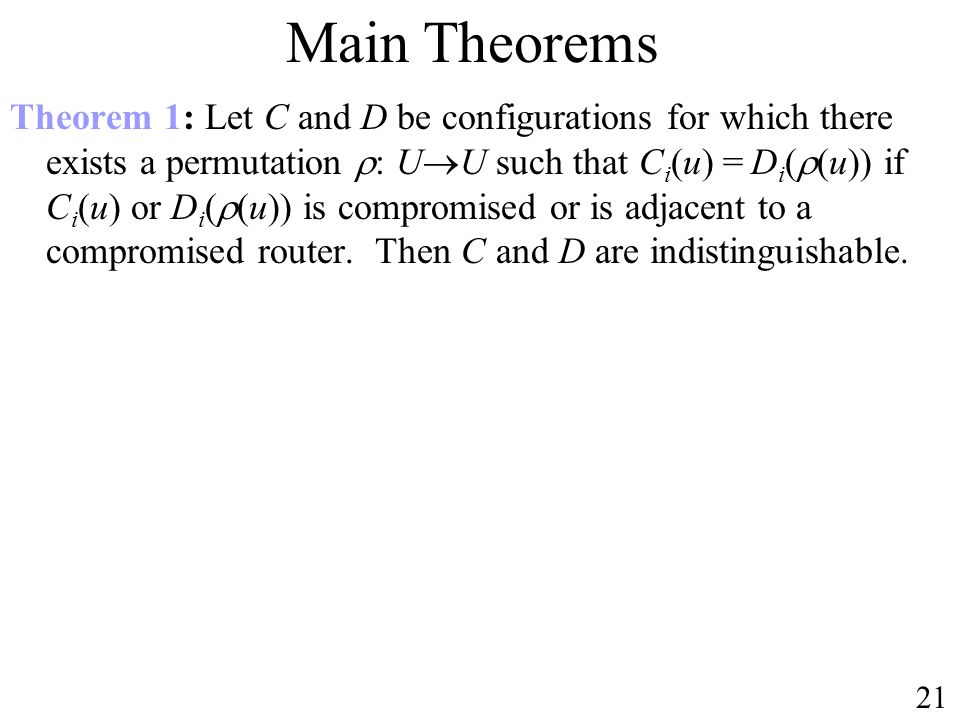Theorem 1: Let C and D be configurations for which there exists a permutation : U U such that C i (u) = D i ( (u)) if C i (u) or D i ( (u)) is compromised or is adjacent to a compromised router.
