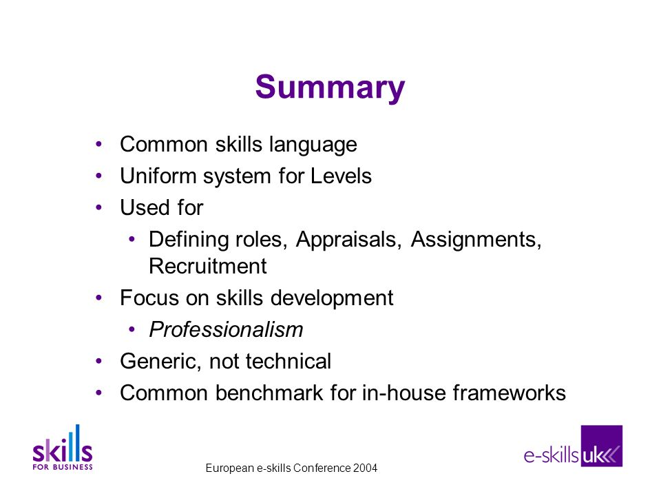 Summary Common skills language Uniform system for Levels Used for Defining roles, Appraisals, Assignments, Recruitment Focus on skills development Professionalism Generic, not technical Common benchmark for in-house frameworks European e-skills Conference 2004