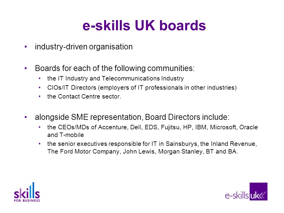 e-skills UK boards industry-driven organisation Boards for each of the following communities: the IT Industry and Telecommunications Industry CIOs/IT Directors (employers of IT professionals in other industries) the Contact Centre sector.