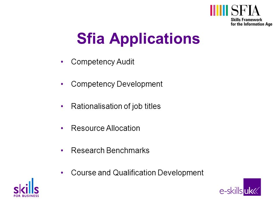 Sfia Applications Competency Audit Competency Development Rationalisation of job titles Resource Allocation Research Benchmarks Course and Qualification Development