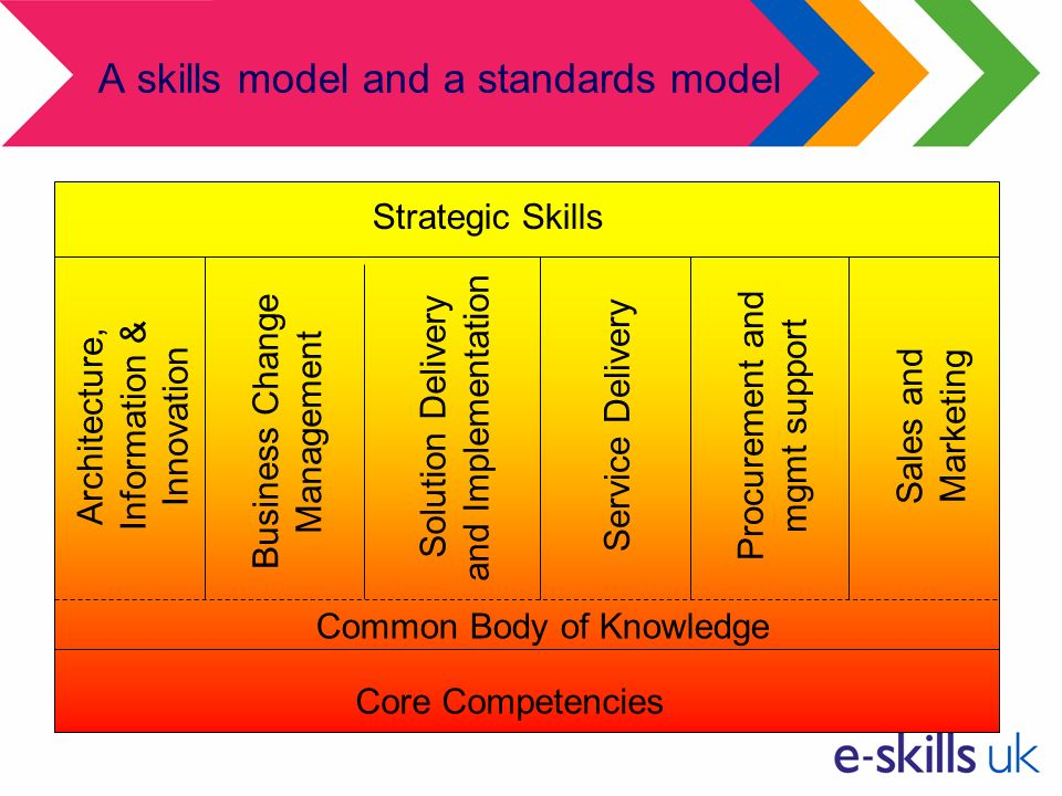 A skills model and a standards model Core Competencies Strategic Skills Business Change Management Service DeliverySales and Marketing Procurement and mgmt support Architecture, Information & Innovation Solution Delivery and Implementation Common Body of Knowledge