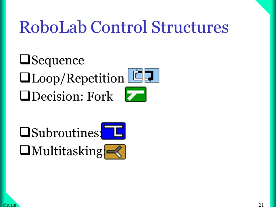 21chung RoboLab Control Structures Sequence Loop/Repetition : Decision: Fork Subroutines: Multitasking: