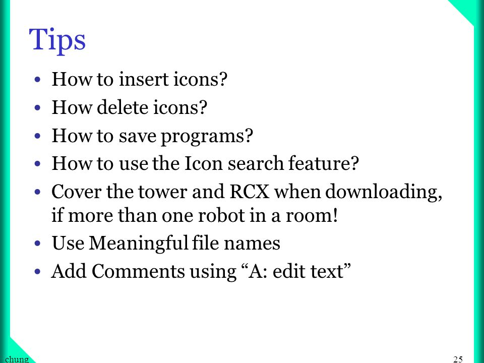 25chung Tips How to insert icons. How delete icons.