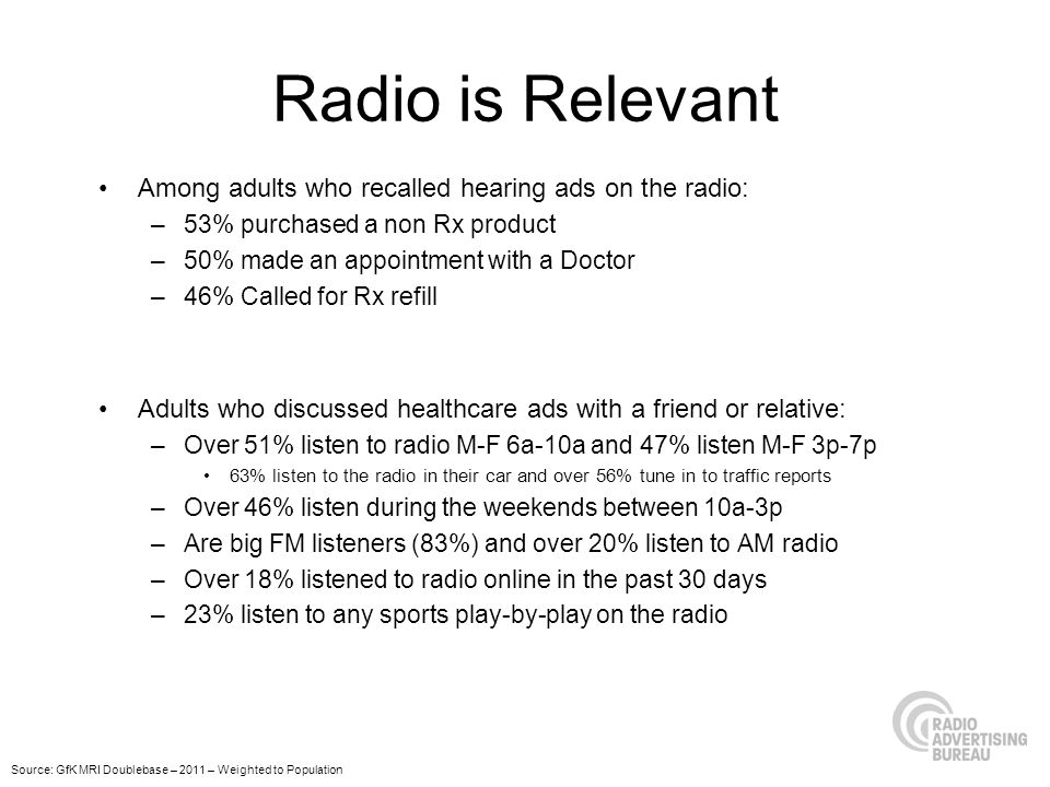 Radio is Relevant Among adults who recalled hearing ads on the radio: –53% purchased a non Rx product –50% made an appointment with a Doctor –46% Called for Rx refill Adults who discussed healthcare ads with a friend or relative: –Over 51% listen to radio M-F 6a-10a and 47% listen M-F 3p-7p 63% listen to the radio in their car and over 56% tune in to traffic reports –Over 46% listen during the weekends between 10a-3p –Are big FM listeners (83%) and over 20% listen to AM radio –Over 18% listened to radio online in the past 30 days –23% listen to any sports play-by-play on the radio Source: GfK MRI Doublebase – 2011 – Weighted to Population