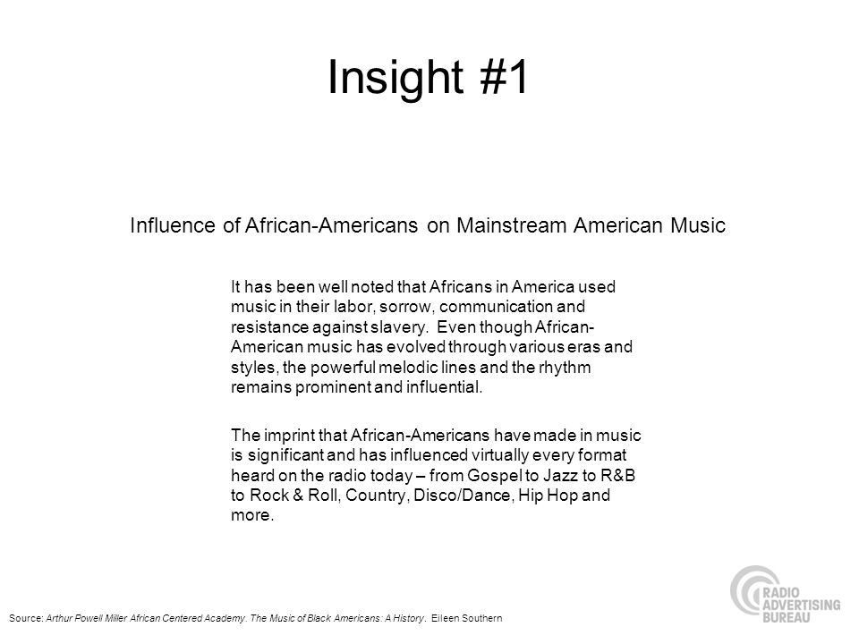 Insight #1 It has been well noted that Africans in America used music in their labor, sorrow, communication and resistance against slavery.