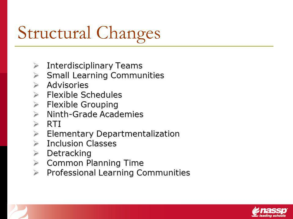 Structural Changes Interdisciplinary Teams Interdisciplinary Teams Small Learning Communities Small Learning Communities Advisories Advisories Flexible Schedules Flexible Schedules Flexible Grouping Flexible Grouping Ninth-Grade Academies Ninth-Grade Academies RTI RTI Elementary Departmentalization Elementary Departmentalization Inclusion Classes Inclusion Classes Detracking Detracking Common Planning Time Common Planning Time Professional Learning Communities Professional Learning Communities