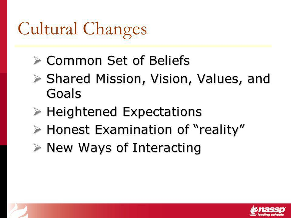 Common Set of Beliefs Common Set of Beliefs Shared Mission, Vision, Values, and Goals Shared Mission, Vision, Values, and Goals Heightened Expectations Heightened Expectations Honest Examination of reality Honest Examination of reality New Ways of Interacting New Ways of Interacting Cultural Changes