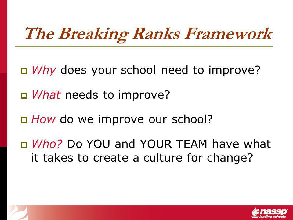 The Breaking Ranks Framework Why does your school need to improve.