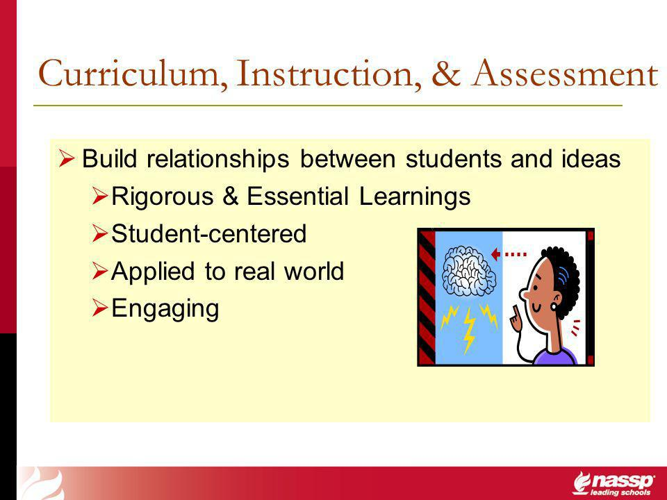 Curriculum, Instruction, & Assessment Build relationships between students and ideas Rigorous & Essential Learnings Student-centered Applied to real world Engaging