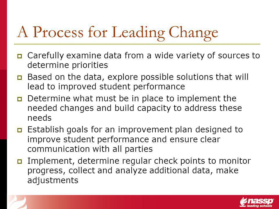 A Process for Leading Change Carefully examine data from a wide variety of sources to determine priorities Based on the data, explore possible solutions that will lead to improved student performance Determine what must be in place to implement the needed changes and build capacity to address these needs Establish goals for an improvement plan designed to improve student performance and ensure clear communication with all parties Implement, determine regular check points to monitor progress, collect and analyze additional data, make adjustments