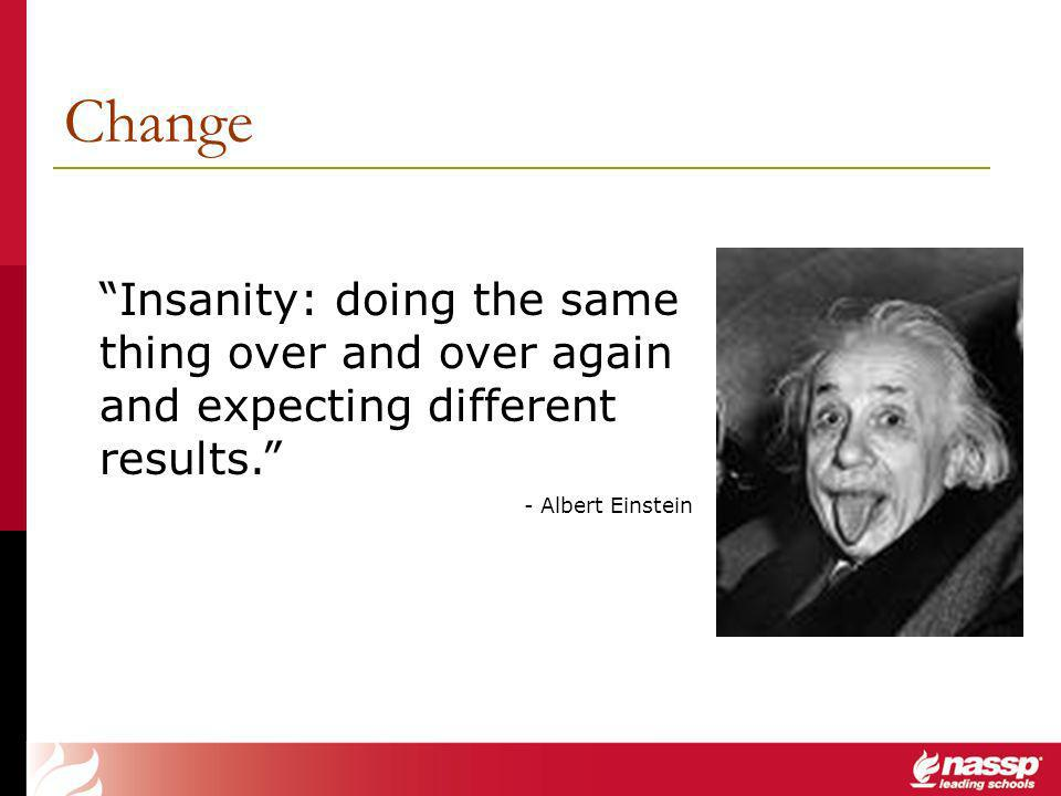 Change Insanity: doing the same thing over and over again and expecting different results.