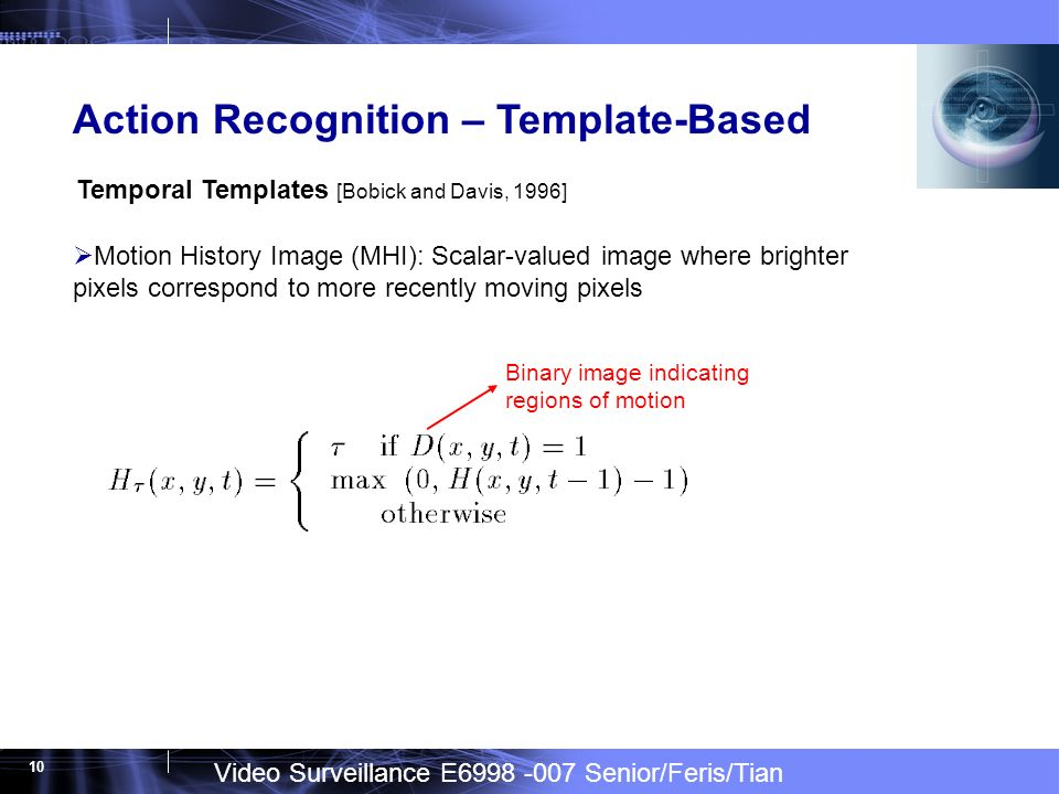 Video Surveillance E6998 -007 Senior/Feris/Tian 10 Action Recognition – Template-Based Motion History Image (MHI): Scalar-valued image where brighter pixels correspond to more recently moving pixels Temporal Templates [Bobick and Davis, 1996] Binary image indicating regions of motion