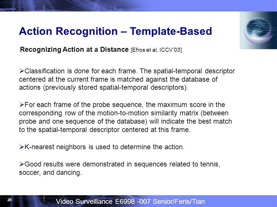 Video Surveillance E6998 -007 Senior/Feris/Tian 20 Action Recognition – Template-Based Recognizing Action at a Distance [Efros et al, ICCV03] Classification is done for each frame.
