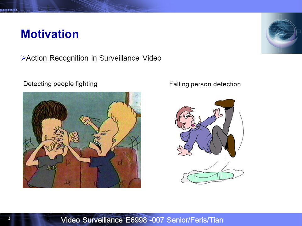 Video Surveillance E6998 -007 Senior/Feris/Tian 3 Motivation Action Recognition in Surveillance Video Detecting people fighting Falling person detection
