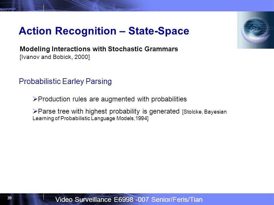 Video Surveillance E6998 -007 Senior/Feris/Tian 39 Action Recognition – State-Space Modeling Interactions with Stochastic Grammars [Ivanov and Bobick, 2000] Probabilistic Earley Parsing Production rules are augmented with probabilities Parse tree with highest probability is generated [Stolcke, Bayesian Learning of Probabilistic Language Models,1994]