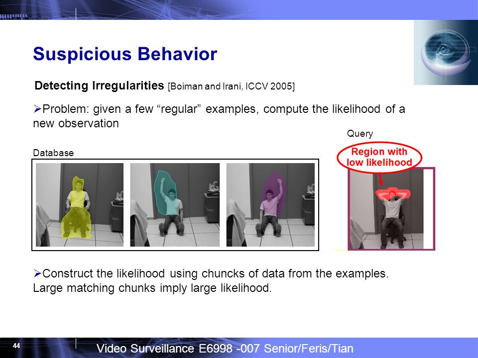 Video Surveillance E6998 -007 Senior/Feris/Tian 44 Suspicious Behavior Problem: given a few regular examples, compute the likelihood of a new observation Detecting Irregularities [Boiman and Irani, ICCV 2005] Database Construct the likelihood using chuncks of data from the examples.