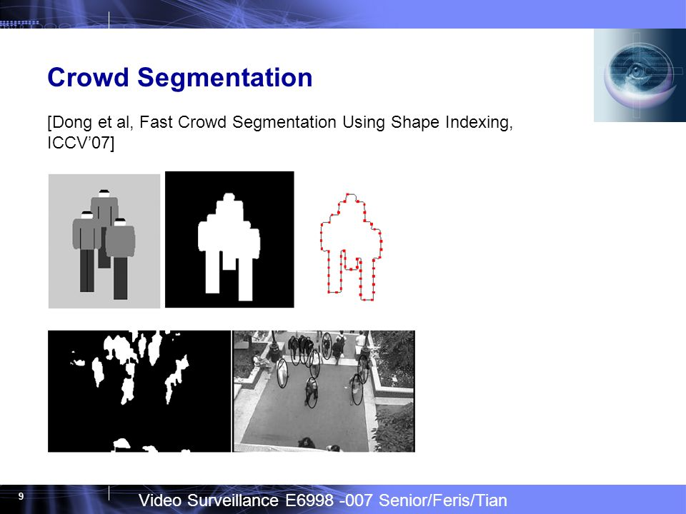 Video Surveillance E6998 -007 Senior/Feris/Tian 9 Crowd Segmentation [Dong et al, Fast Crowd Segmentation Using Shape Indexing, ICCV07]