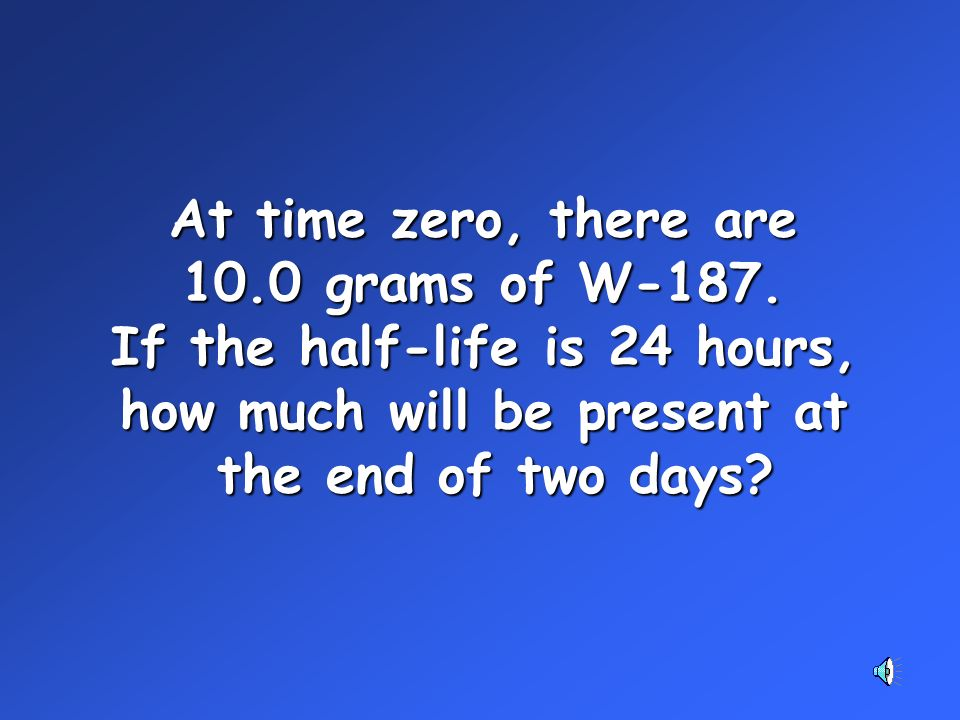 At time zero, there are 10.0 grams of W-187.