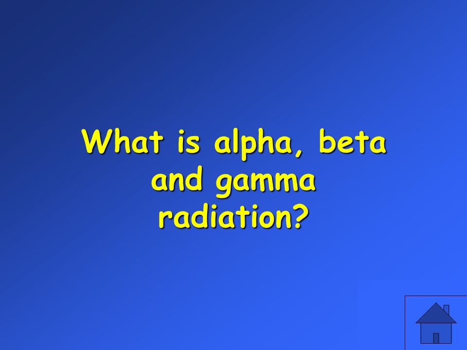 What is alpha, beta and gamma radiation