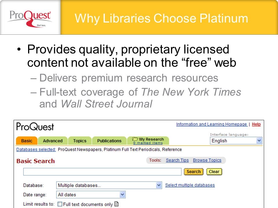Provides quality, proprietary licensed content not available on the free web –Delivers premium research resources –Full-text coverage of The New York Times and Wall Street Journal Why Libraries Choose Platinum