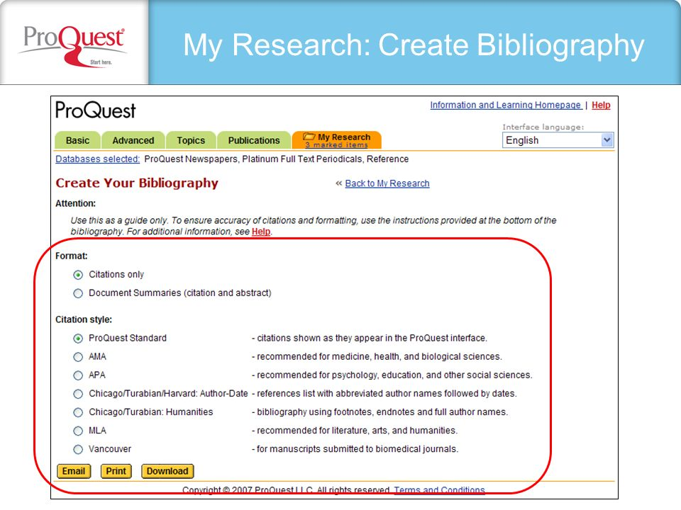 My Research: Create Bibliography