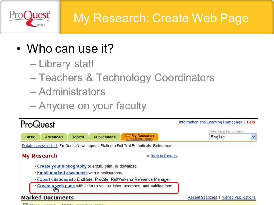 My Research: Create Web Page Who can use it.