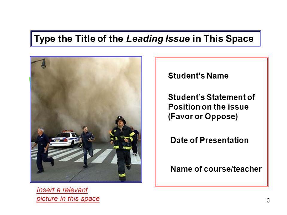 3 Type the Title of the Leading Issue in This Space Insert a relevant picture in this space Students Name Date of Presentation Name of course/teacher Students Statement of Position on the issue (Favor or Oppose)