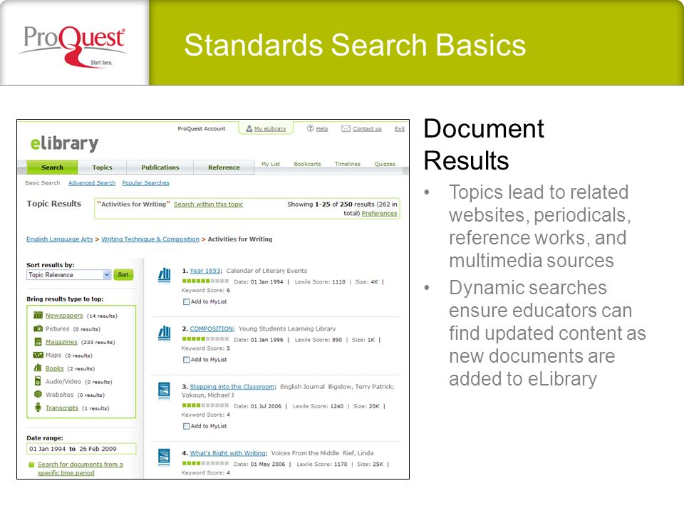 Standards Search Basics Topics lead to related websites, periodicals, reference works, and multimedia sources Dynamic searches ensure educators can find updated content as new documents are added to eLibrary Document Results