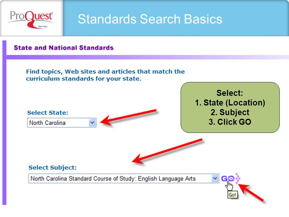 Standards Search Basics Select: 1. State (Location) 2. Subject 3. Click GO