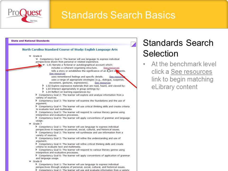 Standards Search Basics At the benchmark level click a See resources link to begin matching eLibrary content Standards Search Selection