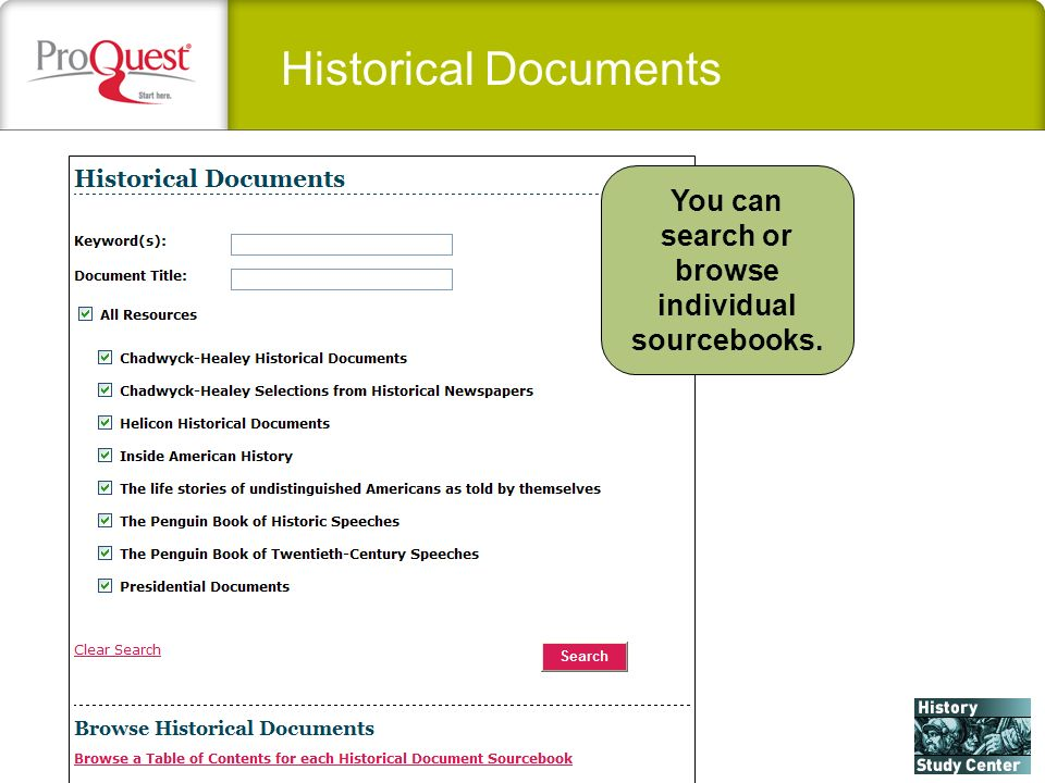 Historical Documents You can search or browse individual sourcebooks.