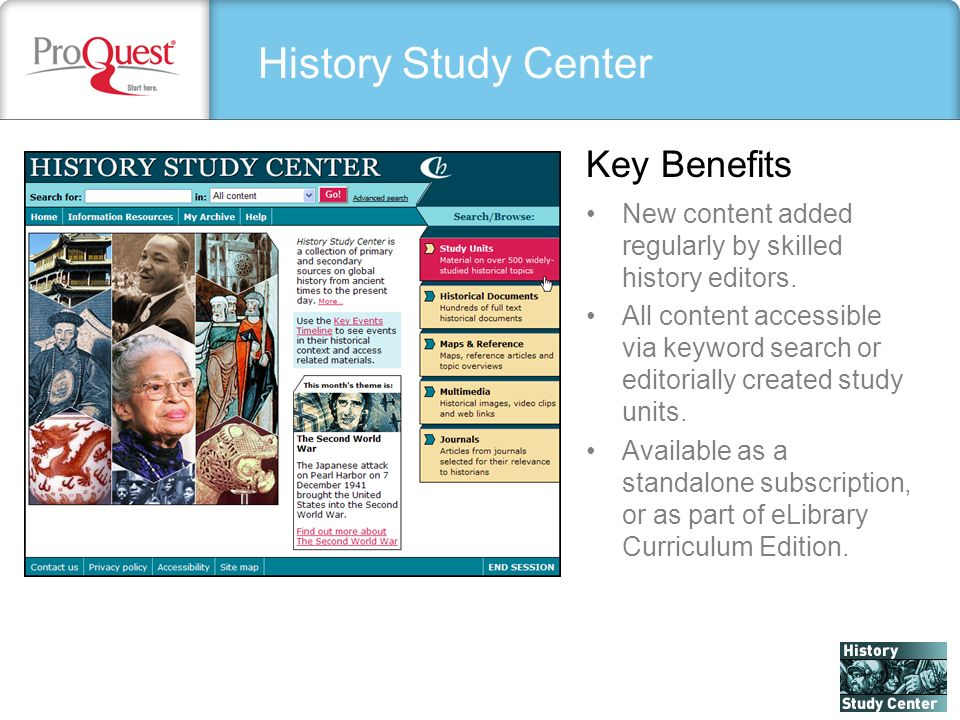 History Study Center New content added regularly by skilled history editors.
