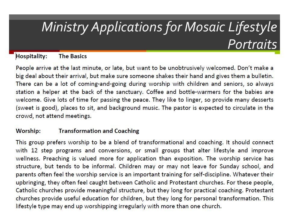 Ministry Applications for Mosaic Lifestyle Portraits