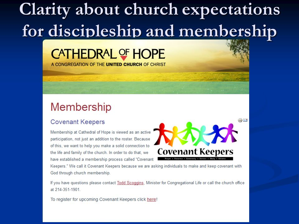 Clarity about church expectations for discipleship and membership