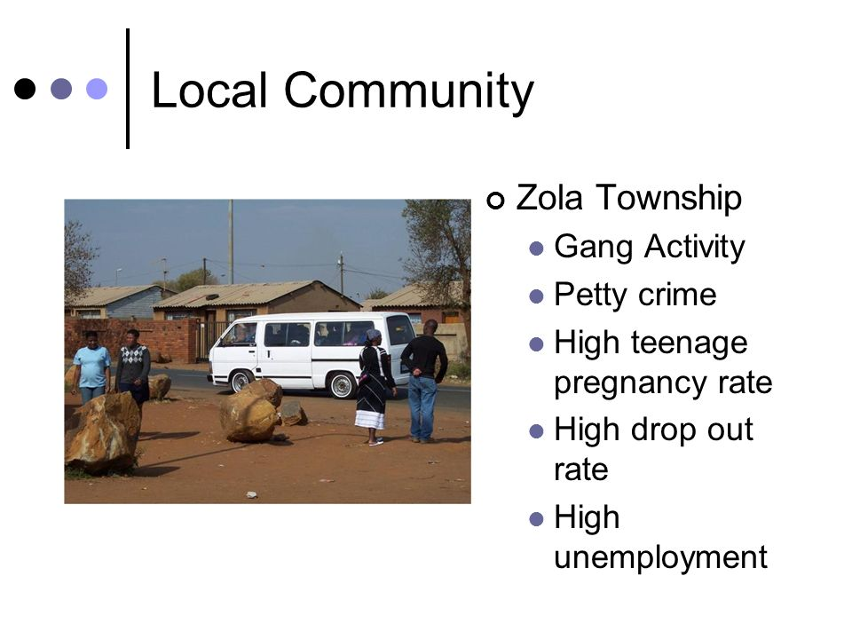 Local Community Zola Township Gang Activity Petty crime High teenage pregnancy rate High drop out rate High unemployment