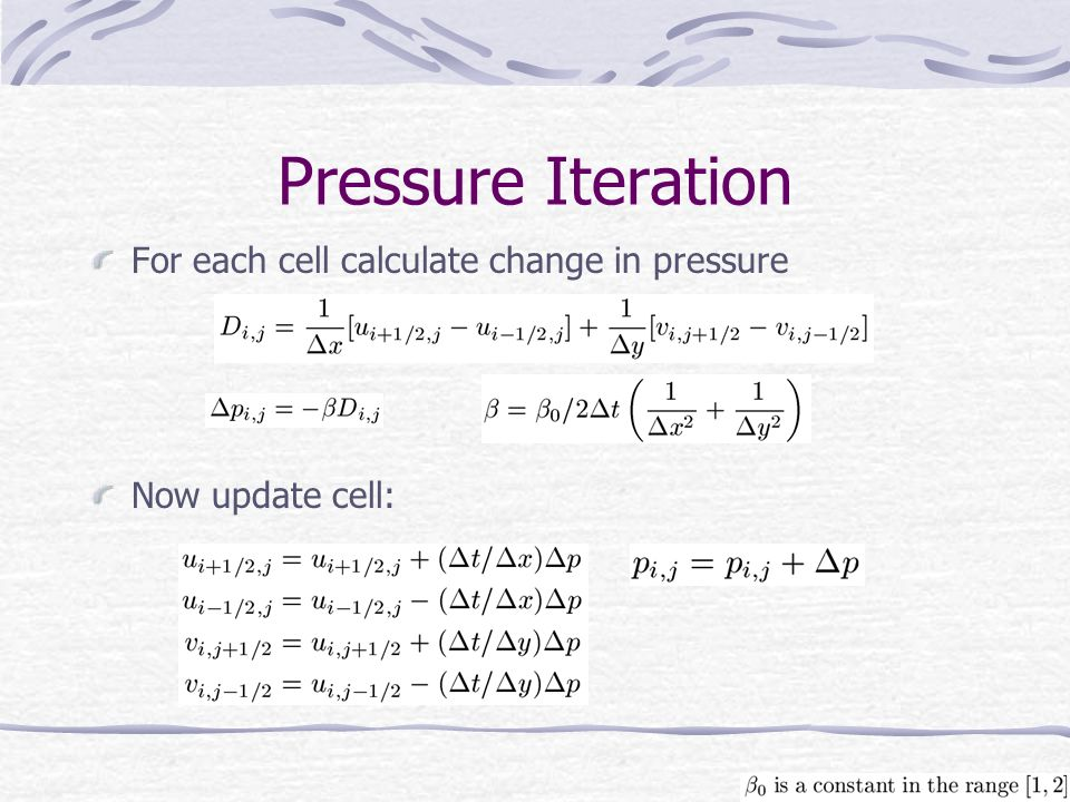 Pressure Iteration For each cell calculate change in pressure Now update cell: