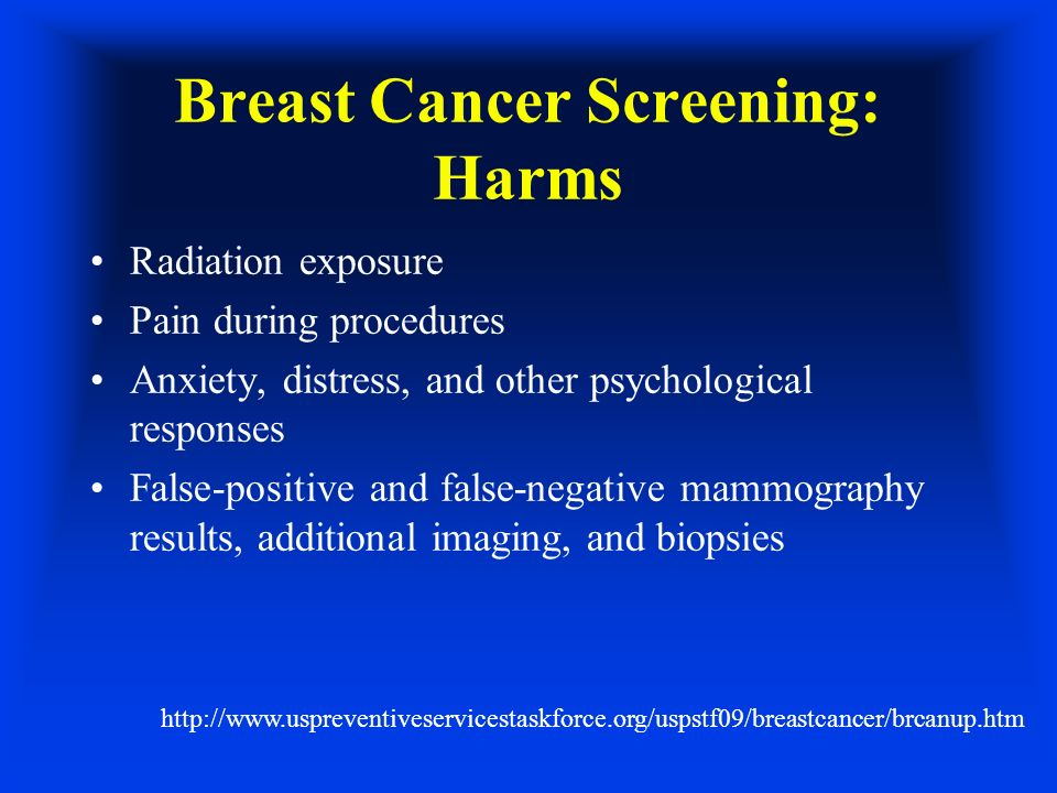 Breast Cancer Screening: Harms Radiation exposure Pain during procedures Anxiety, distress, and other psychological responses False-positive and false-negative mammography results, additional imaging, and biopsies http://www.uspreventiveservicestaskforce.org/uspstf09/breastcancer/brcanup.htm