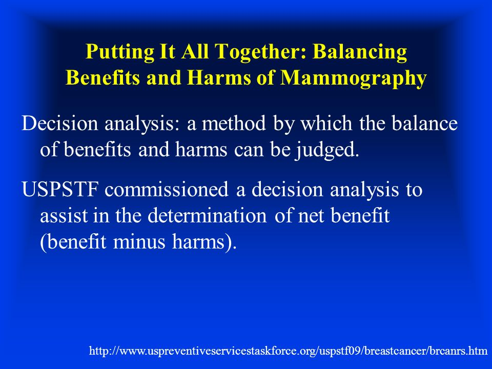 Putting It All Together: Balancing Benefits and Harms of Mammography Decision analysis: a method by which the balance of benefits and harms can be judged.