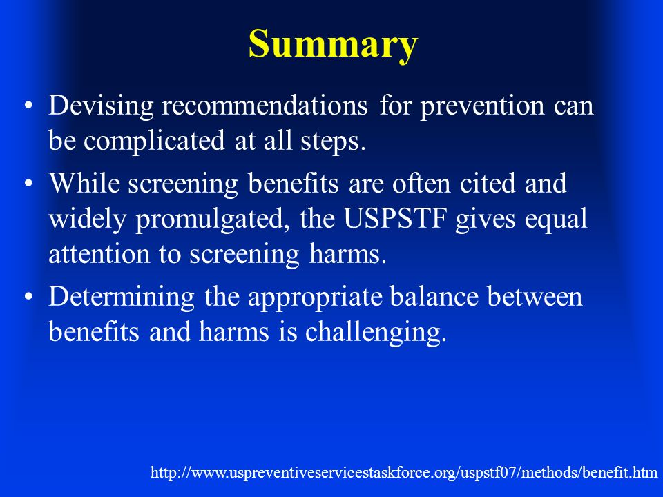 Summary Devising recommendations for prevention can be complicated at all steps.