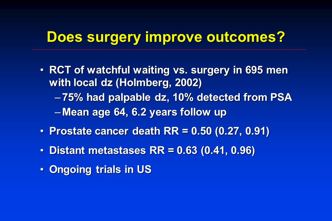Does surgery improve outcomes. RCT of watchful waiting vs.